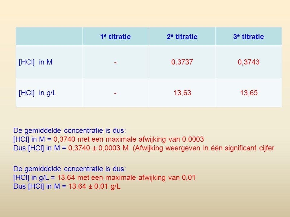 1e titratie 2e titratie. 3e titratie. [HCl] in M. - 0,3737. 0,3743. [HCl] in g/L. 13,63. 13,65.